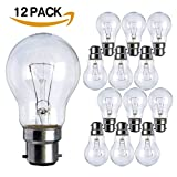 12 Pack 100W BC B22 Classic Clear GLS Light Bulbs, Bayonet, Incandescent Dimmable Lamps, Heavy Duty, 1120 Lumen, Mains 240V [Pack of 12 Bulbs]