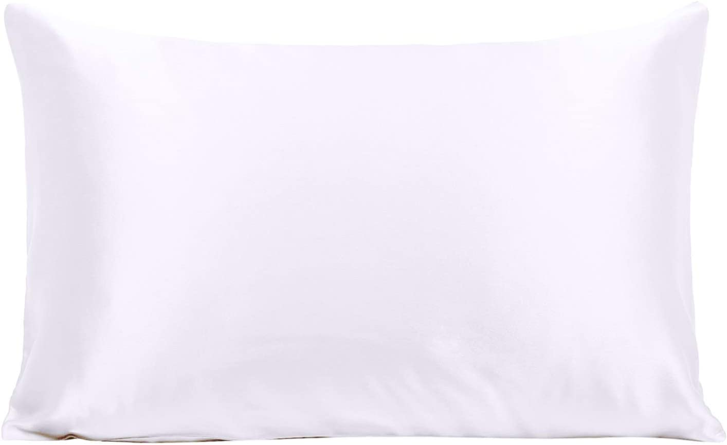 Ravmix 100% Pure Mulberry Silk Pillowcase Standard Size 21 Momme 600 Thread Count Hair Skin Hidden Zipper, Hypoallergenic Soft Breathable Both Sides Silk Pillow Case, 20×26inch, White