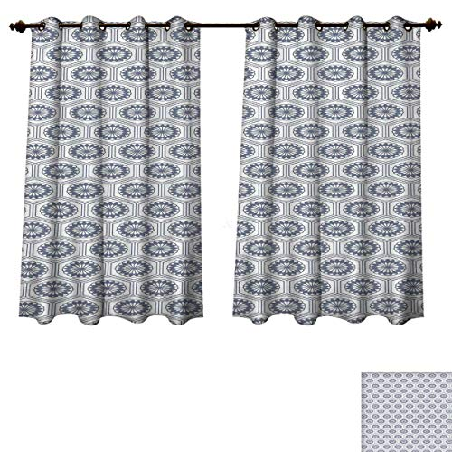 RuppertTextile Geometric Bedroom Thermal Blackout Curtains Comb Design Kikko Tortoise Shell Pattern Western Asian Influences Hexagon Motifs Blackout Draperies for Bedroom Grey White W72 x L45 inch (Tortoise Shell Blinds)