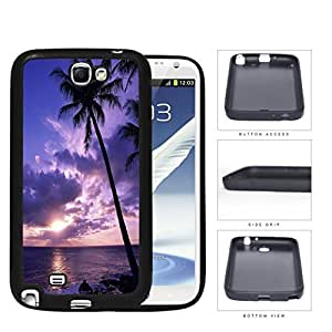 Beach Sunset Scenery With Palm Tree Silhouette Rubber Silicone TPU Cell Phone Case Samsung Galaxy Note 2 II N7100Kimberly Kurzendoerfer