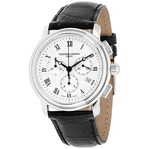 - Frederique Constant Men's FC292MC4P6 Persuasion Stainless Steel Chronograph Watch With Black Leather Strap