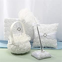 4 Piece Wedding Ring Pillow Bearer Flower Girl Baseket Guest Book Garter and Pen Set