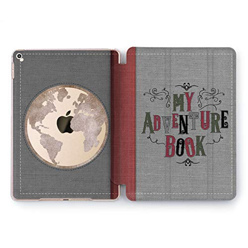 Wonder Wild My Adventure Book iPad 5th 6th Generation Retro Design Mini 1 2 3 4 Air 2 Pro 10.5 12.9 2018 2017 9.7 inch Smart Stand Cover Fabric View World in Circle Library Booking Vintage Diary -