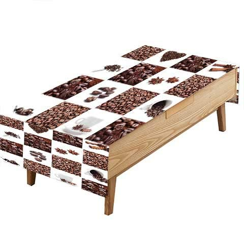 PINAFORE Polyesters Tablecloth Roasted Beans Collage Hearts Stars Espresso Latte Mugs Aroma Brown White Birthday Parties Table Decorations W60 x L84 - Runner Latte Table Cafe