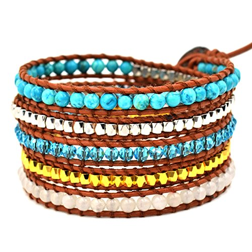 HQLA Leather Wrap Bracelet with Mixed Multicolor Natural Beads (5-wrap Copper & Natural Turquoise Beads)