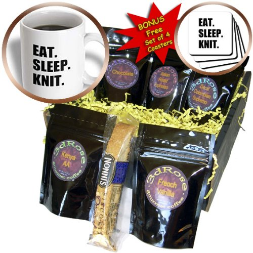 InspirationzStore Eat Sleep series - Eat Sleep Knit - gifts for knitting enthusiast knitters - black text - Coffee Gift Baskets - Coffee Gift Basket (cgb_180417_1) - Gift Baskets For Knitters