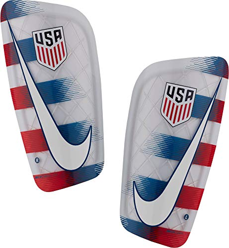 NIKE Adult USA Mercurial Lite Soccer Shin Guards (White/Red/Blue, X-Large)
