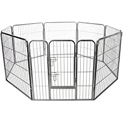 "Paws and Pals Pet Exercise Pen Tube Gate w/ Door - (8 Panel Playpen) Heavy Duty Folding Metal Out-Door Fence - 24"" Playpen"