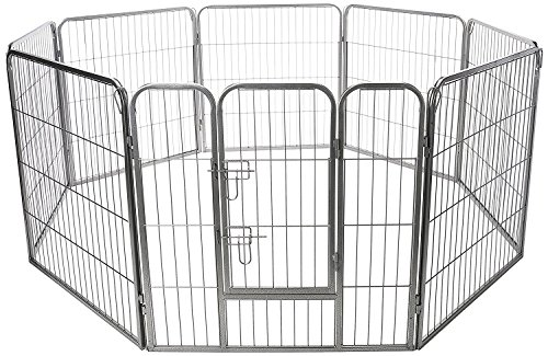 Pet Exercise Pen Tube Gate w/ Door - (8 Panel Playpen) Heavy Duty Folding Metal Out-Door Fence -