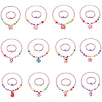 KANKANWO 12Sets Little Girl Princess Party Necklace & Bracelet Jewelry Value Pack