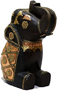 Rosmonte - Decorative Wooden Indian Elephant Bookend Figurine - Solid Wood Elephant Décor with Brass Accents