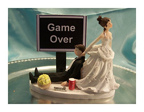 Wedding Cake Topper Computer Laptop Video Game Gamer Gaming Over Groom Funny (BLACK - Video Game Funny) by Unknown