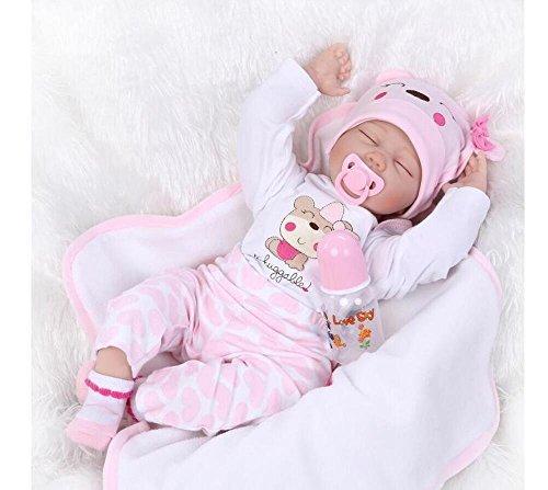 22 inch Reborn Baby Doll Soft Silicone vinyl Lovely Lifelike Baby Cute Sleeping Doll Birthday Gifts Boy Girl Toy