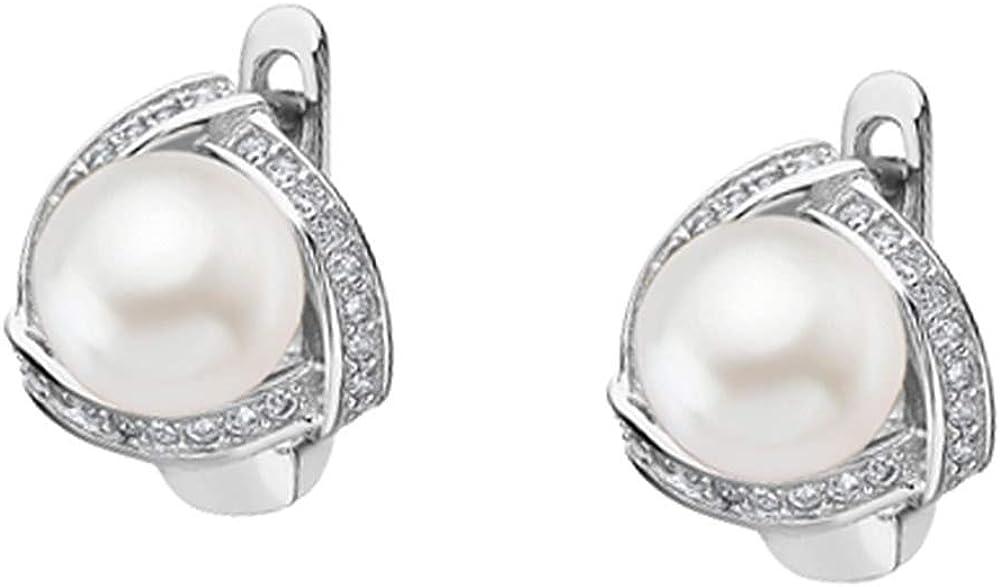 Pendientes Lotus Silver Silver Silver LP1928-4/2, pendientes de perla de circonita JLP1928-4-2, plata