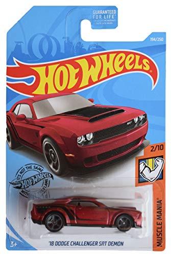Hot Wheels 2019 Muscle Mania '18 Dodge Challenger SRT Demon 194/250, Maroon
