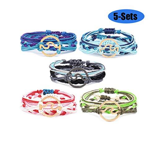 Jacky Charming 5 Sets Women Girls Wave Bracelet Beach Braided Rope Bohemian Link Bracelet Set Adjustable Friendship Handmade Waterproof Bracelet -