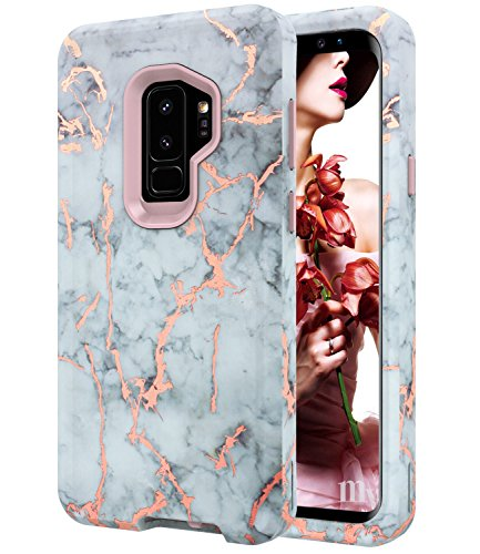 Galaxy S9 Plus Case, S9+ Rose Gold White Gray Marble Case,BAISRKE Heavy Duty Hybrid 3-Layer Full-Body Protect Case Soft TPU & Hard Plastic Back Cover for Samsung Galaxy S9+ Plus (2018)