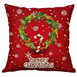 Pgojuni Linen Blend Christmas and Happy Year Throw Pillow Cover Decorative Cushion Cover Pillow Case1pc (45cm X 45cm) (F)