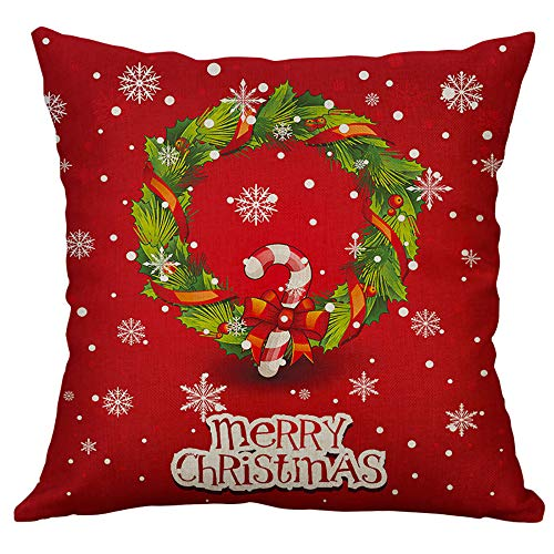 Pgojuni Linen Blend Christmas and Happy Year Throw Pillow Cover Decorative Cushion Cover Pillow Case1pc (45cm X 45cm) (F) by Pgojuni_Pillowcases (Image #1)