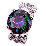 Yazilind Women's Ring with Round Cut Big Stone Rainbow Purple Cubic Zirconia CZ Silver Plated US Size