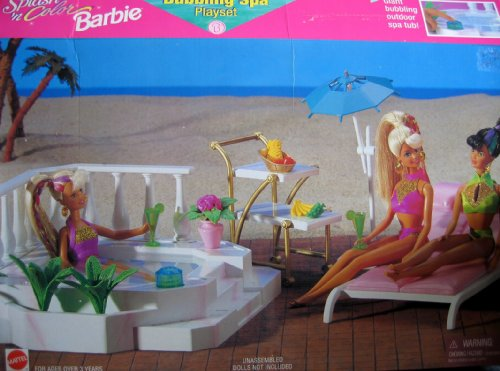 "Price comparison product image Splash 'n Color BARBIE BUBBLING SPA Playset w Bubbling ""JACUZZI"" Style TUB & MORE! (1996 Arcotoys,  Mattel)"
