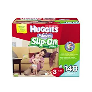 Huggies Little Movers Slip-On Diapers, Size 3, 140 Count