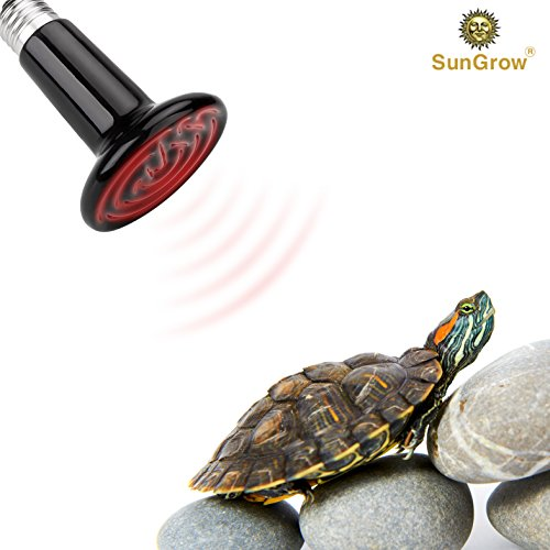 Picture of SunGrow 110V Ceramic Heating Lamp - 150W Infrared Heat Emitter - Energy-Efficient Reptiles, Chicks, Hermit Crabs, Terrariums, Pet Brooders, Coops - Infrared Light Bulb