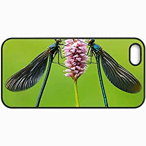 Fashion Unique Design Protective Cellphone Back Cover Case For iPhone 5 5S Case Dragonflies On Flower Black