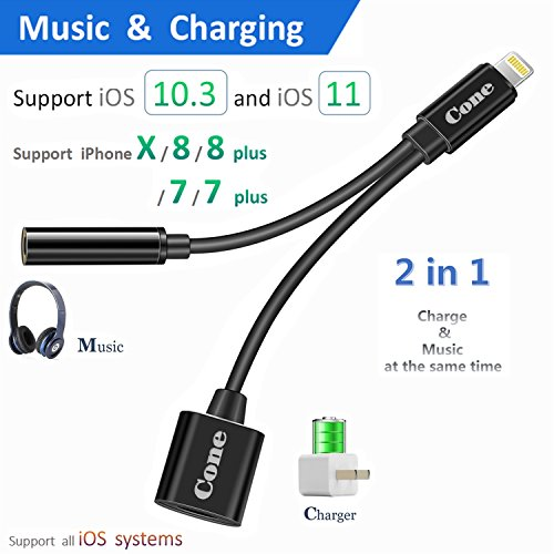 Lightning to 3.5mm Aux Headphone Jack Audio Adapter for iphone 7 / 8 / X / 7 plus / 8 plus (Support iOS 10.3, iOS 11), Cone 2 in 1 Lightning Adapter and Charger (Black)