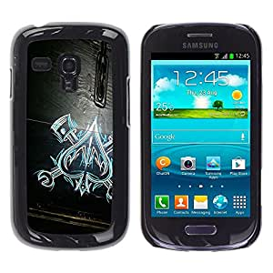Caucho caso de Shell duro de la cubierta de accesorios de protección BY RAYDREAMMM - Samsung Galaxy S3 MINI NOT REGULAR! I8190 I8190N - Of Spades Work Mechanic Wood Pattern