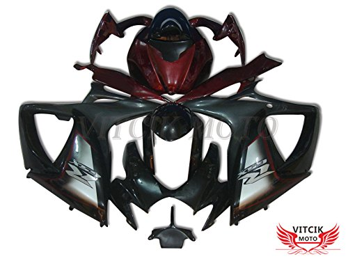 Gsxr750 Fairings (VITCIK (Fairing Kits Fit for Suzuki GSX-R750 GSX-R600 K6 2006 2007 GSXR 600 750 K6 06 07) Plastic ABS Injection Mold Complete Motorcycle Body Aftermarket Bodywork Frame (Black & Red) A059)