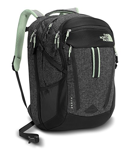 The North Face Women's Surge Backpack Asphalt Grey Dark Heather/Subtle Green