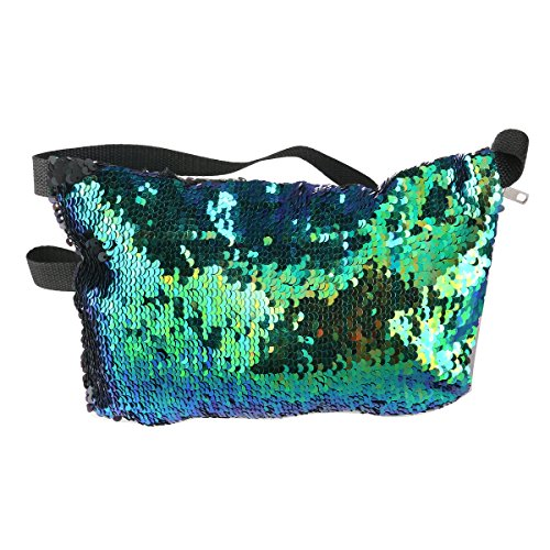 OULII Sports Bag Casual Bag Waist Pack Waist Bag Double Color Sequins Valentine's Day gift for women girls (Blue Green + Black)