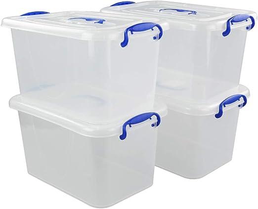 Fosly Caja de Almacenamiento Transparente con Tapa, 4-Pack Cajas ...