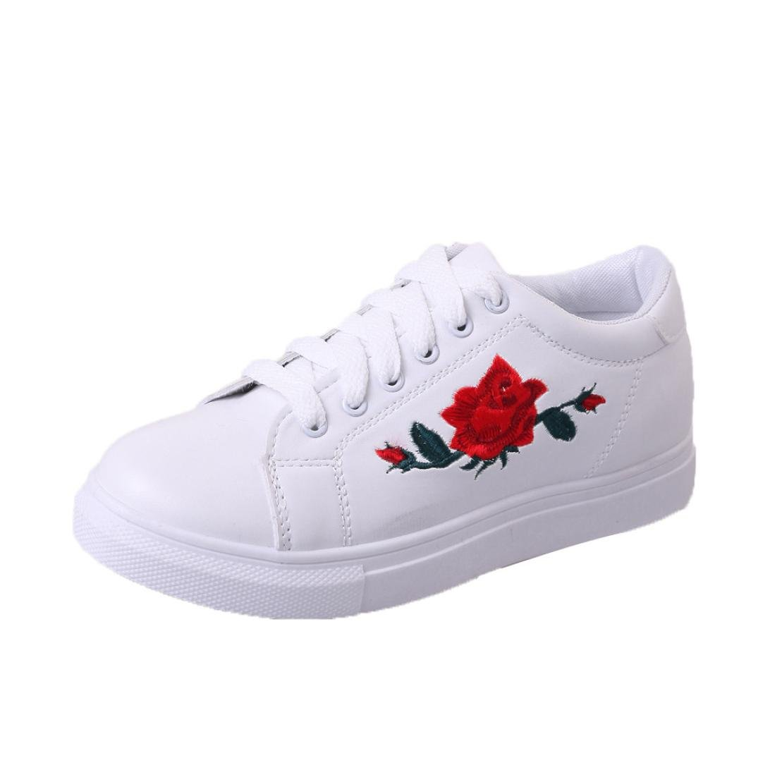 d3f8af2aa HCFKJ Fashion Women s Straps Sports Lace Up Running Sneakers Ladies Teens  Girls Embroidery Flower Summer Flat Shoes Breathable Black White   Amazon.co.uk  ...