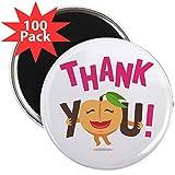 CafePress - Emoji Peach Thank You - 2.25'' Magnet (100 pack)