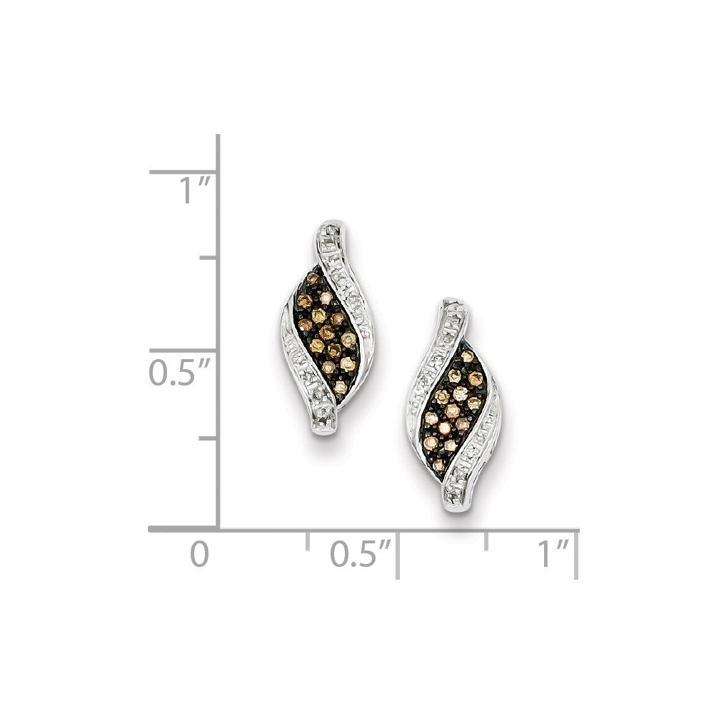 FB Jewels Solid Sterling Silver Champagne Diamond Marquise Post Earrings
