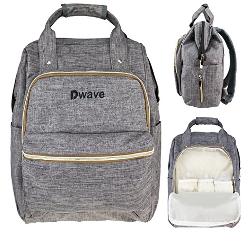 Dwave Diaper Bag Multi-Function Waterproof Travel Backpack Nappy Bags for Baby Care, W/Stroller Straps,Insulated Pockets, Large Capacity, Stylish and Durable, Grey