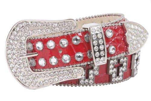 Western Rhinestone Cross Ornaments Croco Print Leather Belt Size: M/L - 35 Color: Red (Cross Western Ornaments Rhinestone)