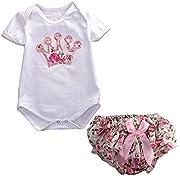 Newborn Infant Baby Girls Clothing 2pcs Party Crown Romper+Floral Pants (S(0-3months))