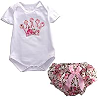 Newborn Infant Baby Girls Clothing 2pcs Party Crown Romper+Floral Pants (S(0-...