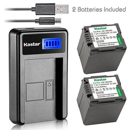 - Kastar Battery (X2) & LCD Slim USB Charger for Panasonic VW-VBG070, VW-VBG130, VWVBG260, VBG6 and SDR-H40, SDR-H80 Series, HDC-HS700, TM700, HS300, TM300, HS250, SD20, HS20, HDC-SDT750 Camcorders etc.