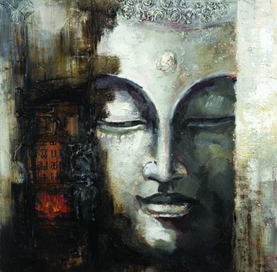 Seekland Art Contemporary Canvas Art Handmade Abstract Buddha Face Oil Painting Modern Wall Deco Artwork Unframe 40W x 40H
