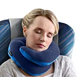BCOZZY Chin Supporting Travel Pillow – Supports the Head, Neck and Chin in Maximum Comfort in Any Sitting Position. A Patented Product. Adult Size, NAVY