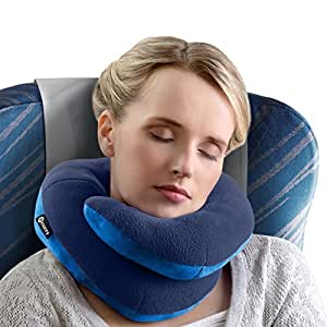 BCOZZY Chin Supporting Travel Pillow - Supports the Head, Neck and Chin in Maximum Comfort in Any Sitting Position. A Patented Product. (ADULT, NAVY)
