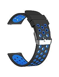 18mm 20mm 22mm 23mm Watch Bands, FanTEK Soft Silicone Breathable Nike Sport Band Waterproof Alternative Watch Strap Wristband for Samsung Gear S3/ Pebble Time/ MOTO 360 2nd Gen Watch/ Fitbit Blaze