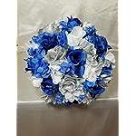 Royal-Blue-Silver-White-Rose-Hydrangea-Bridal-Wedding-Bouquet-Boutonniere