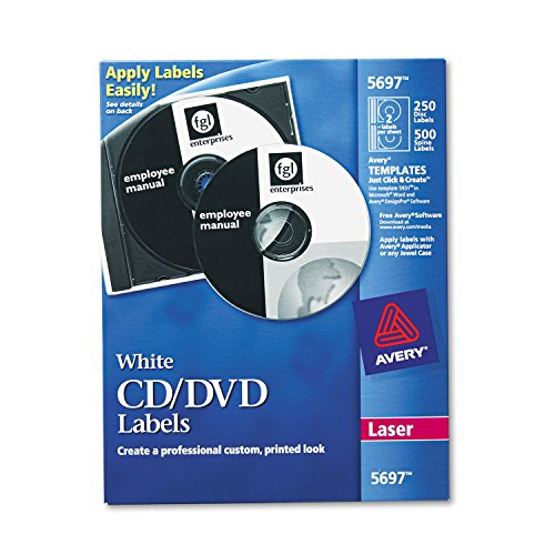 Avery 5697 CD/DVD Labels, Laser, 250/PK, White