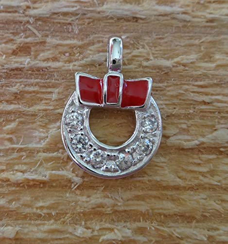 Fine Charms Sterling Silver Small 14x10mm Red Enamel Wreath Christmas