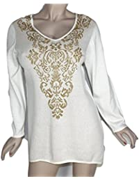 Women's V-Neck Pullover Sweater Byzantine Allure Ivory XL